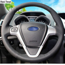 New DIY Sewing-on PU Leather Steering Wheel Cover Exact Fit For Ford Fiesta