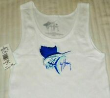 """NEW"" Guy Harvey ~ MARLIN SHIRT Tank Top Cover-Up ~ Women's Sz M 7 / 9  WHITE"