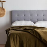 Rest Haven Upholstered Square Tufted Mid Rise Headboard - King/Cal King, Gray