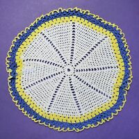 Vintage Crochet Lace Round Pinwheel Doily Handmade Multicolor Cottage Chic 11""
