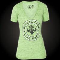 AFFLICTION Women T-Shirt DEVIOUS Biker GREEN Sinful American Fighter UFC $44 NWT