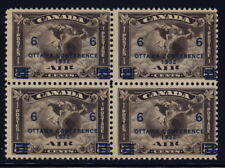 Canada C4 block of 4 w/Ottawa Conference overprint - mnh 6 cts air mail stamps