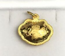 24K Solid Yellow Gold Monkey Hollow Chinese Character Charm/ Pendant. 3.44 Grams