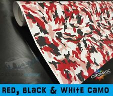 Red Camouflage Vinyl 152 x 30cm - Bubble Free Camo Car & Bike Wrap Sticker Foile