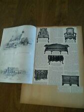 Antique Chippendale Adam Hepplewhite Arts and Crafts 2 side Page Scrapbook