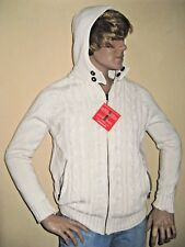 NEW MENS BOYS IVORY CHUNKY KNITTED HOODED JACKET COAT LINED CARDIGAN SMALL 36/39