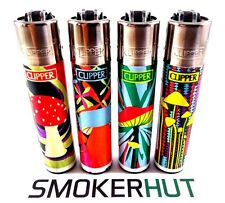 4 Rare Clipper Lighters - Psychedelic Mushrooms Set - Complete Collection x4 pcs
