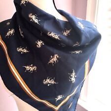 Women's Vintage Blue Horse Square Scarf Italy 26 x 26
