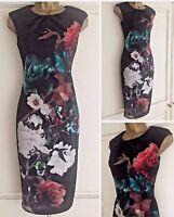 NEW EX COAST BLACK GREEN RED IVORY FLORAL SCUBA DRESS SIZE 8 - 14