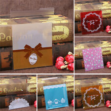 100 Cute Cookie Biscuit Plastic Gift Bags Sweet Candy Self-adhesive Bags 10x10cm