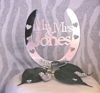 Personalised Mr & Mrs Wedding Horseshoe Cake Topper Bridal Gift