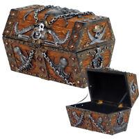 Pirate Skull Cross Blade Octopus Treasure Chest Of Caribbean Sea Jewelry Box.New