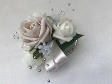 Wedding bouquets flowers blush Pink diamante Prom Wrist Corsage  bridesmaids