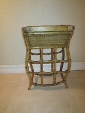VINTAGE BAMBOO RATTAN ACCENT TABLE  BUILT IN SERVING TRAY Shipping not Included