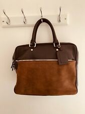 Eleventy Leather Briefcase / Messenger / Travel Bag Men Brown Suede