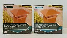 Veranda Solar Powered Deck Post Cap Set of 2 Copper Finish 4x4 NIB