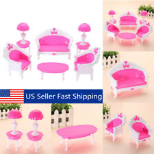6Pcs Plastic Miniature Furniture Living Room Sofa Chair Table Dollhouse Set Toy