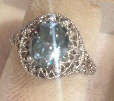 💎Stunning  Light Blue 1.88Ct  Genuine Moissanite & Silver 925 Ring💎SZ6.5