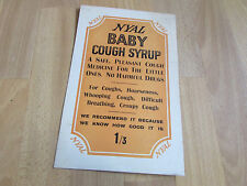 NYAL Baby Cough Syrup No Harmful Drugs Original c 1920's Advertising Showcard
