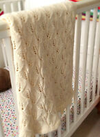 Leafy Lace Baby Blanket  with Moss Stitch Border DK Knitting Pattern