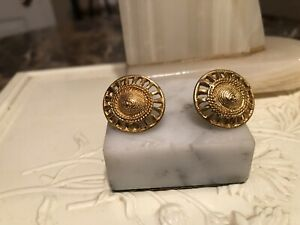 Vintage Unsigned Givenchy Gold Tone  Shield Pierced Earrings
