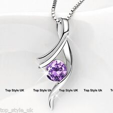 925 Sterling Silver Purple Amethyst Crystal Infinity Love Necklace Gift Mum Girl