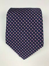 Hickey Freeman Made in USA Woven Silk Tie Navy Pink