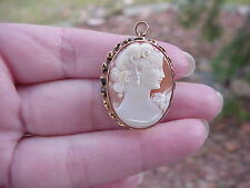 10K Yellow Gold Genuine Vintage Victorian Cameo Brooch/Pin/Pendant Carved