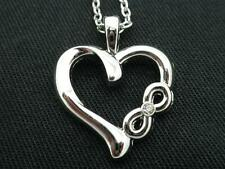 Heart Infinity Crystal Pendant Women Necklace Silver Plated w Extender Chain New