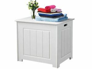 WHITE WOODEN BATHROOM STORAGE ORGANISER LAUNDRY UNIT BOX FURNITURE NEW