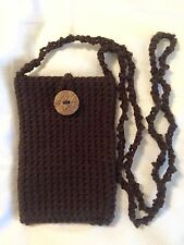 iPhone 5 Or 6 Case Cover Cross Body Pouch Bag Purse Crochet Chocolate Brown