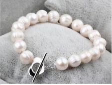 "New 9-10MM white baroque freshwater cultured pearl bracelet 7.5"""
