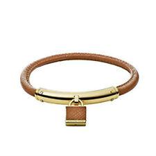 Michael Kors MKJ4293 Padlock Gold Tone St Steel Brown Leather Bracelet Jewelry