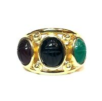 14k Yellow Gold Green Black and Brown Stone Scarab Ring Size 8 3/4