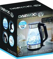Daewoo Illuminating Crystal Clear Aqua Glass Fast Boil Jug Kettle - 3kW - 1.7L