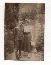 PHOTO ANCIENNE Snapshot Déguisement Travestissement Femme Couple Uniforme 1910