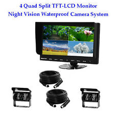 "9"" Quad Monitor Splitscreen Colour 4PIN CCD Reversing Camera Rearview 12V 24V"