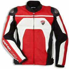 DUCATI CORSE C4 LEATHER MOTORCYCLE JACKET RED WHITE EURO 58 P/N 981045358
