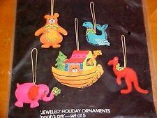 Vintage Christmas Bucilla Felt Sequin Ornament Kit NOAH'S ARK Boat Animals
