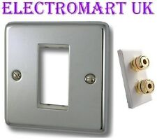 SPEAKER 2 POST SINGLE 4MM BANANA WALL PLATE SOCKET EASY FIT SCREW TERMINALS