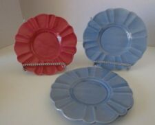 "3 Mixed Lot Saucers Ceramic Scalloped Bright Pink Cornflower Blue 6"""