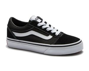 Vans Ward Suede Canvas Lace Up Boys Girls Trainers Black Womens Shoes
