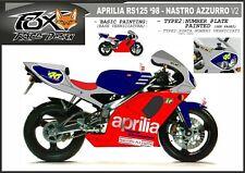 ADESIVI stickers moto bike KIT per APRILIA RS 125 replica NASTRO AZZURRO 1998 v2