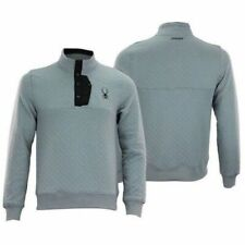 $149 Men's Spyder Quilted Button Pullover Fleece Sweater Ski Grey Small