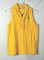 Tracy Negoshian Polo Top Size M Lemon Jennie Model Ruffle Front Sleeveless