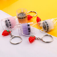 Boba Milk Tea Keychain Key Ring Jewelry Bubble cup Pendant Accessory Gift
