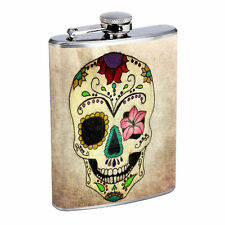 Sugar Skull D10 8oz Hip Flask Stainless Steel Day of the Dead Los Muertos Art