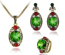 De Lujo 3 Piezas Tono Oro Cristal Facetado Verde Collar Aretes Anillo Conjunto
