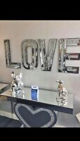 CRUSHED DIAMONDS CRYSTALS LOVE LETTERS WALL HANGING SIVER BLING