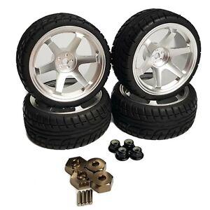 4x1/10 RC Alloy Wheels 6 Spoke SILVER Tyres for Tamiya TT02 TT01 Fazer 12mm Hex